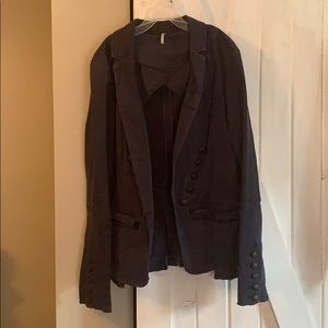 Free People military style blazer blue small